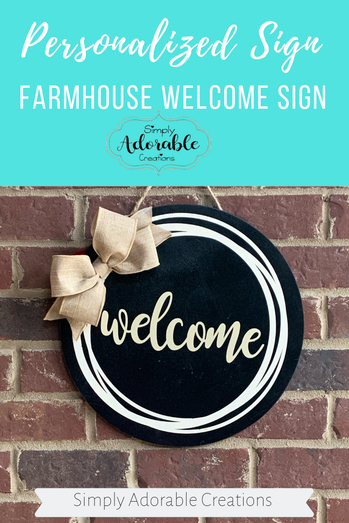 Farmhouse Round, Rustic Farmhouse Door Hanger, Welcome Wall Decor, Personalized Gift - Simply Adorable Creations