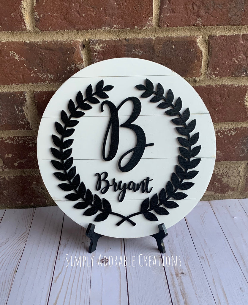 Family Name Shiplap Laurel Wreath Sign - Simply Adorable Creations