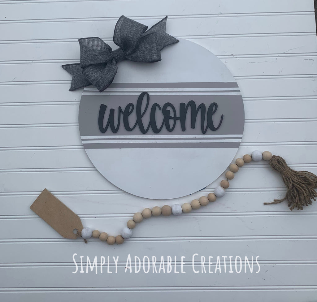 Striped Welcome Sign - Simply Adorable Creations