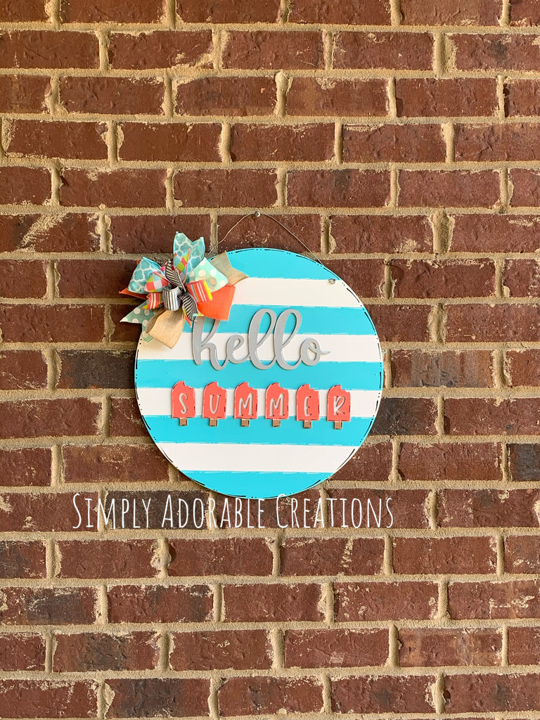 Striped Circle Hello Summer Door Hanger - Simply Adorable Creations