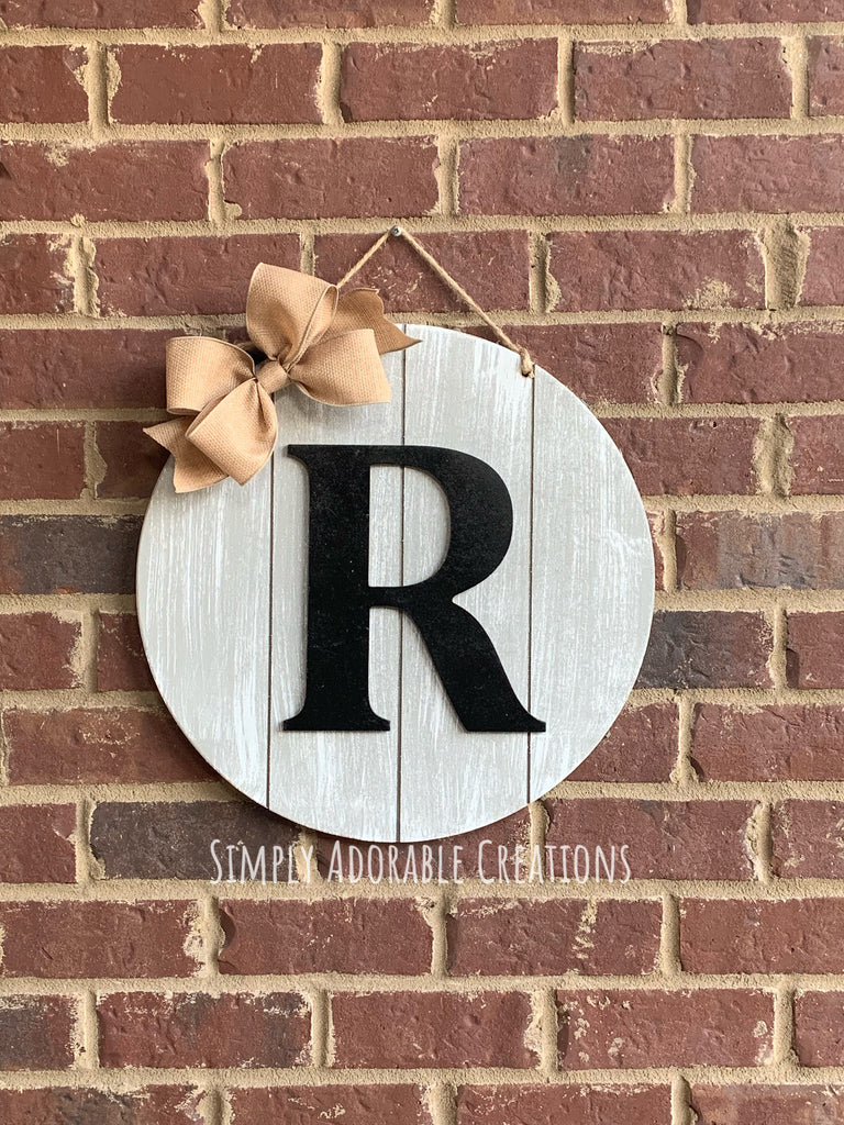 Rustic Circle Monogram Door Hanger - Simply Adorable Creations