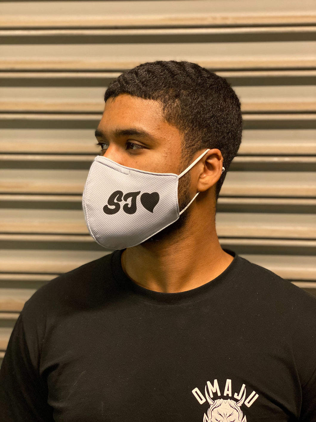 SJ Heart Grey Face Mask - Single