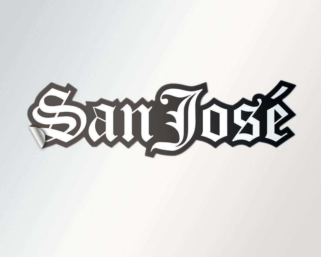 large old english san josé di-cut sticker