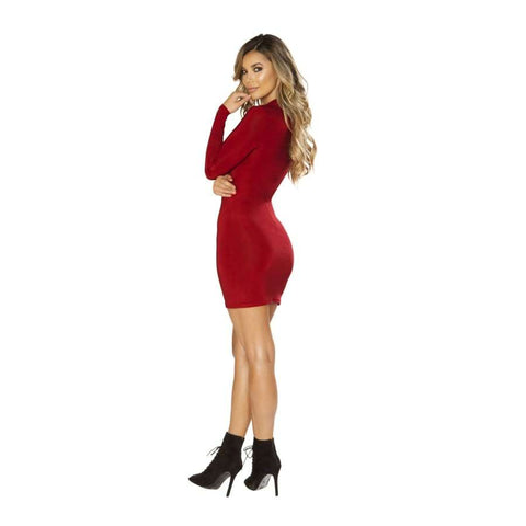3642 - Long Sleeved Dress with Cutout Detail - Mini Dresses