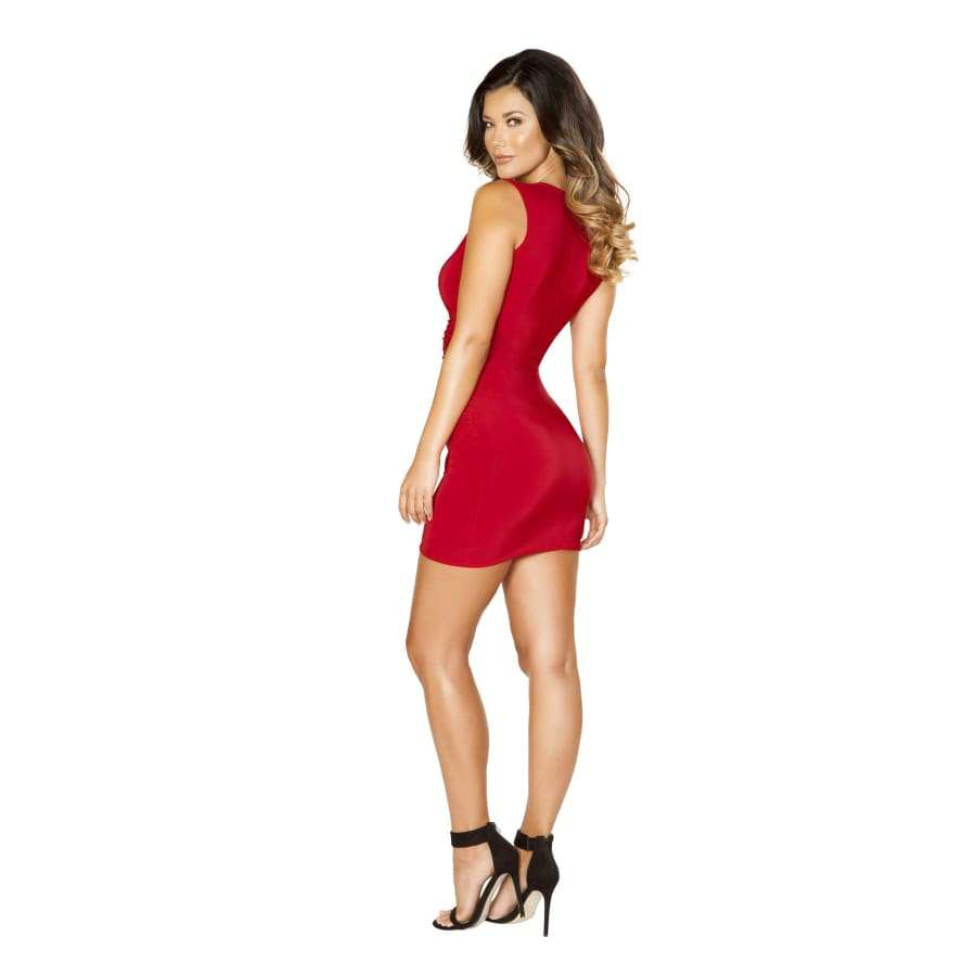 Roma Clubwear Red Mini Dress with Overlapping Scrunch Detail Back