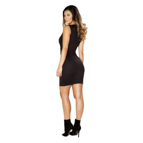 Roma Clubwear Black Mini Dress with Double Slit Zipper Detail and Sheer V Neck Detail Back