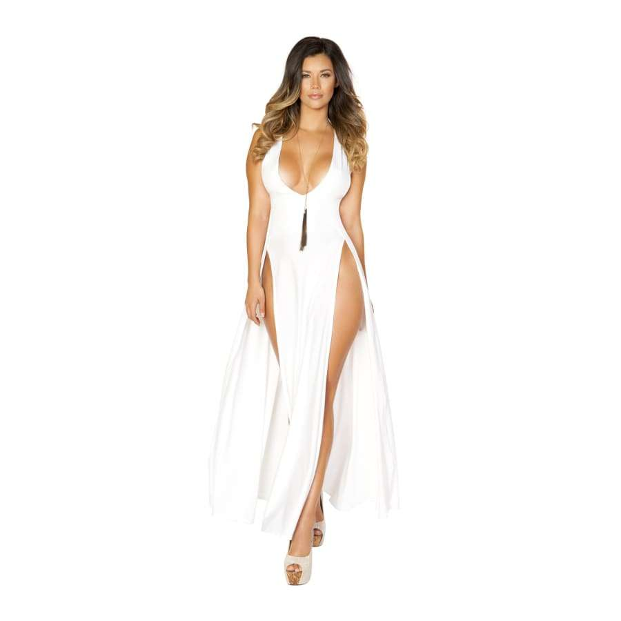 Maxi Length White Dress w/Front Slits - Small / White - Dress