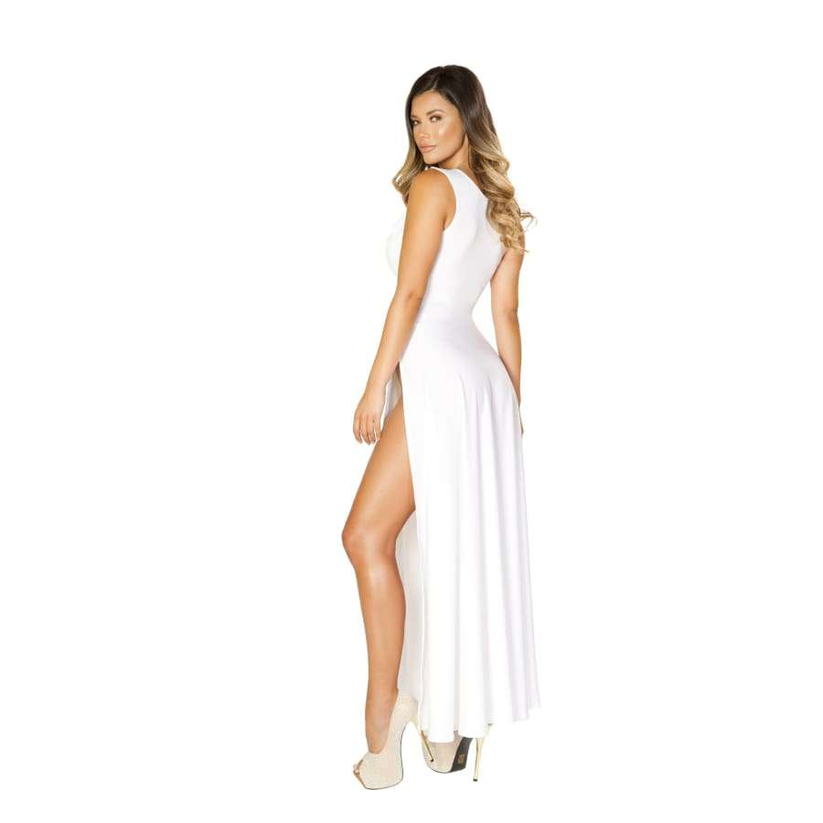 Maxi Length White Dress w/Front Slits - Dress