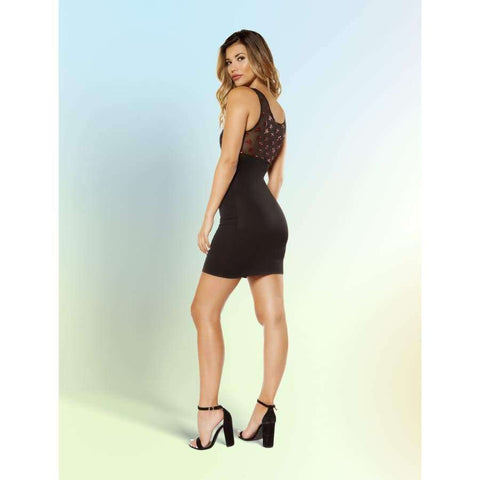 3364 - Dress with Star Shaped Glitter Sheer Mesh Top - Mini Dresses