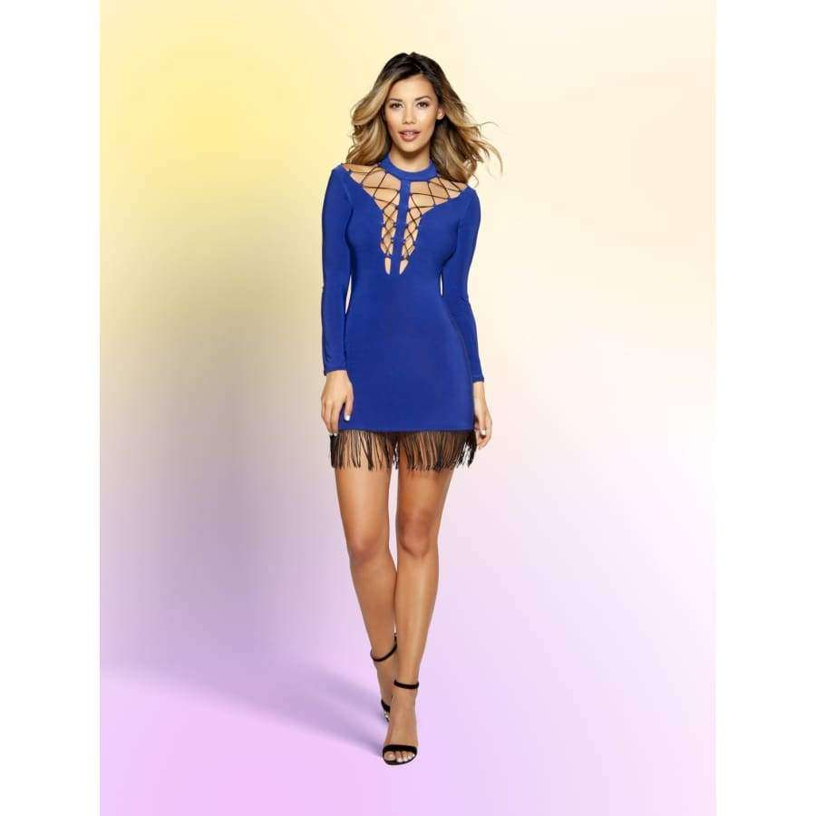 Double Strap Lace-Up Dress with Hanging Fringe Detail - Small / Royal Blue - Mini Dresses