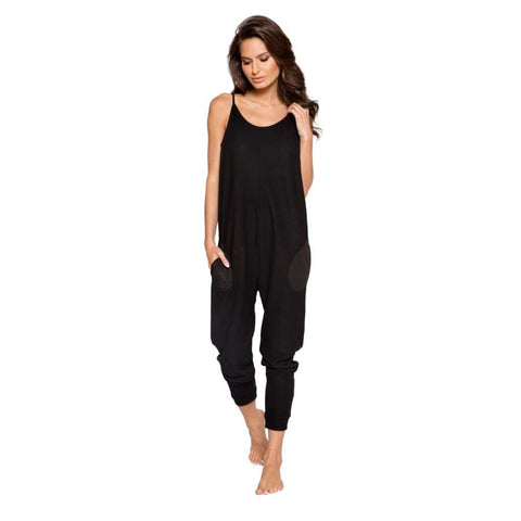 Cozy & Comfy Pajama Jumpsuit with Pocket Details (Curvy Sizes Available) - S/M / Black - lingerie