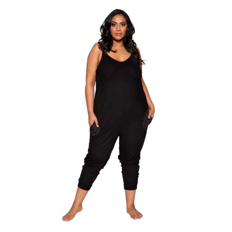 Cozy & Comfy Pajama Jumpsuit with Pocket Details (Curvy Sizes Available) - XL/XXL / Black - lingerie