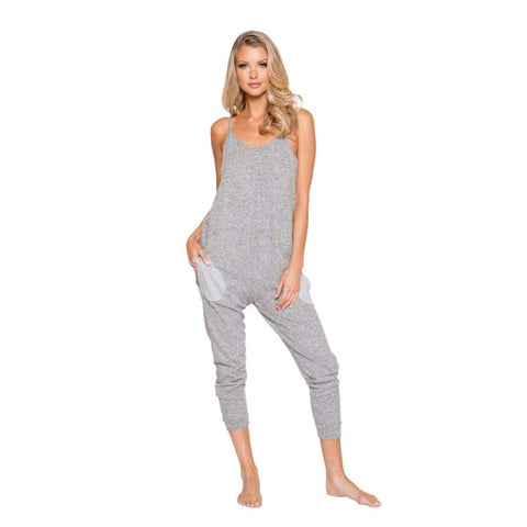 Cozy & Comfy Pajama Jumpsuit with Pocket Details (Curvy Sizes Available) - S/M / Grey - lingerie