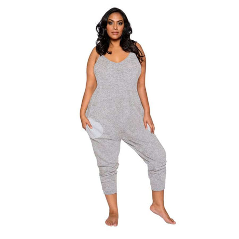Cozy & Comfy Pajama Jumpsuit with Pocket Details (Curvy Sizes Available) - XL/XXL / Grey - lingerie