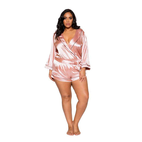 Chic Cozy Collar Satin Romper with Tie (Curvy Sizes Available) - XL / Pink - lingerie
