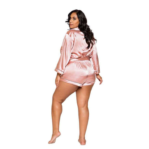 Chic Cozy Collar Satin Romper with Tie (Curvy Sizes Available) - lingerie
