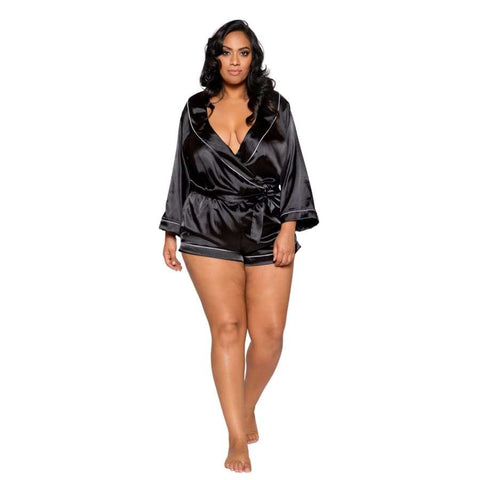 Chic Cozy Collar Satin Romper with Tie (Curvy Sizes Available) - XL / Black - lingerie