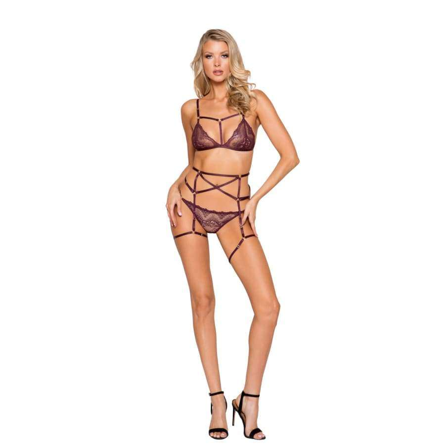 Cage Bra 3pc Set - Small / Plum - lingerie