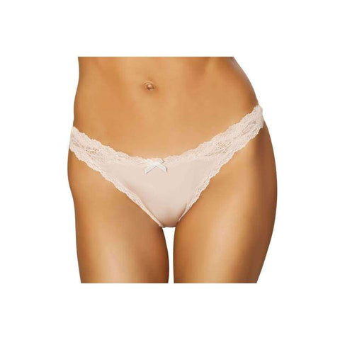 Thong Panty (Curvy Sizes Available) - Nude / S/M - lingerie