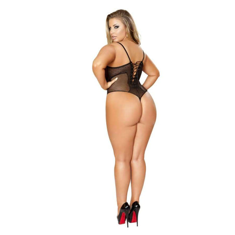 Crotchless Teddy with Cutout Top & Ruffle Trim Lace Up Back (Curvy Sizes Available) - lingerie