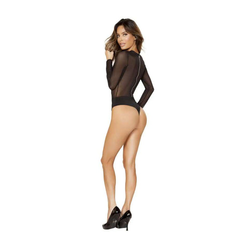 Long Sleeved Sheer Body Suit with Back Zipper Closure (Curvy Sizes Only) - lingerie