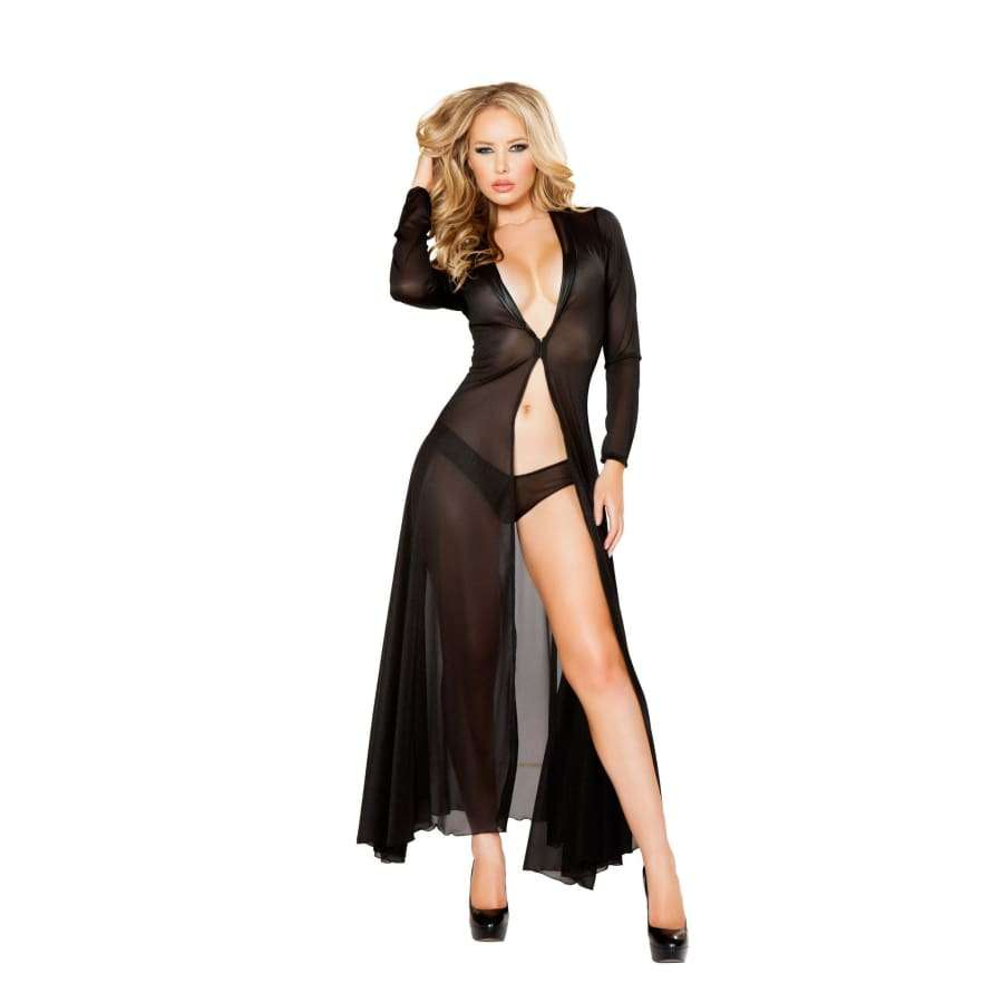 Long Sheer Robe with Hooks & Mesh Shorts (Curvy Sizes Available) - Black / S/M - Lingerie