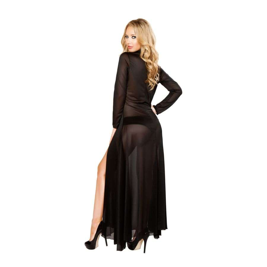 Long Sheer Robe with Hooks & Mesh Shorts (Curvy Sizes Available) - Lingerie