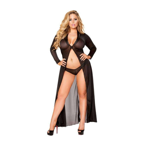 Long Sheer Robe with Hooks & Mesh Shorts (Curvy Sizes Available) - Black / 1X/2X - Lingerie