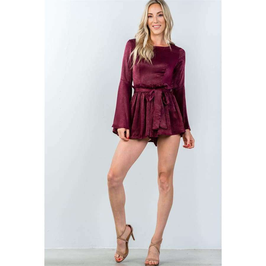 Round Neckline Burgundy Long Bell Sleeves Romper - Rompers