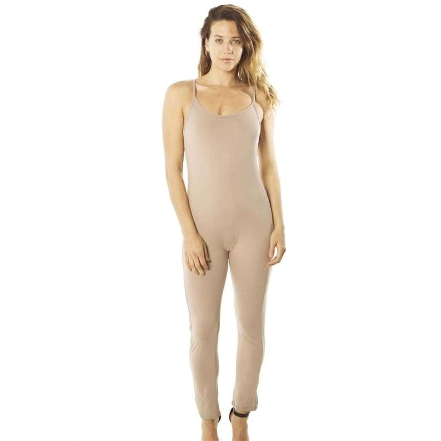 Spaghetti Strap Bodycon Taupe Tank Jumpsuit Romper - S - Rompers