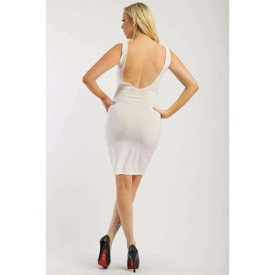 Solid White Sleeveless Dress w/Low Back And Front Cutout - Dress