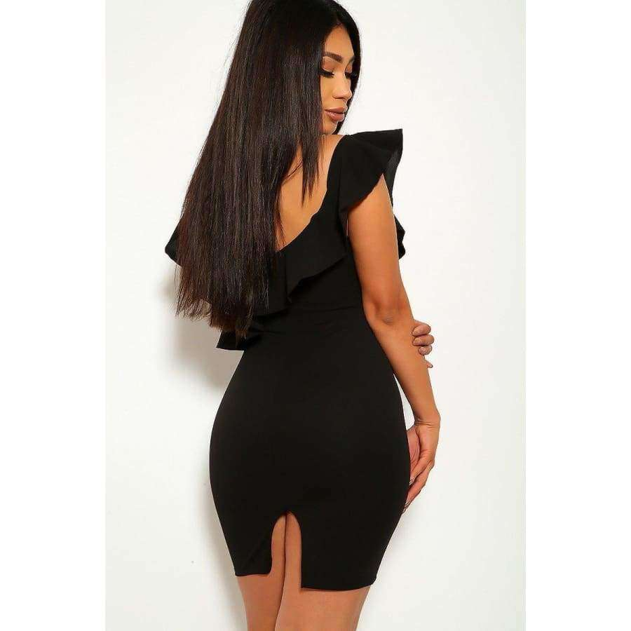 Solid Black Ruffled Detail Sleeveless Back Slit Stretchy Dress - Dress