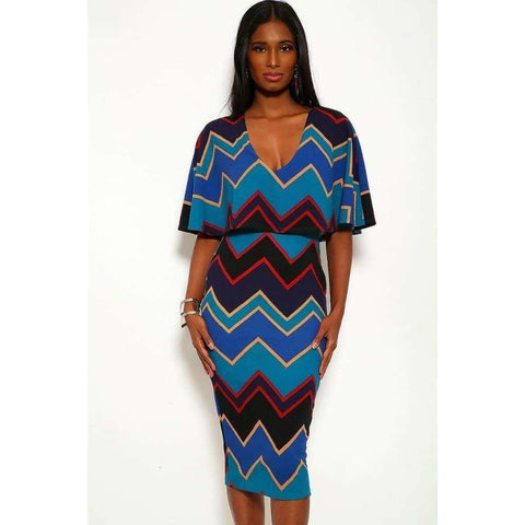 Chevron Print Over The Shoulder Ruffle Midi Dress - S - Dress
