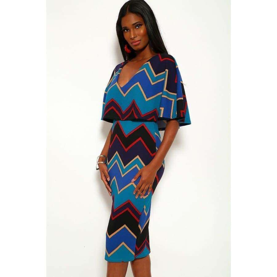 Chevron Print Over The Shoulder Ruffle Midi Dress - Dress