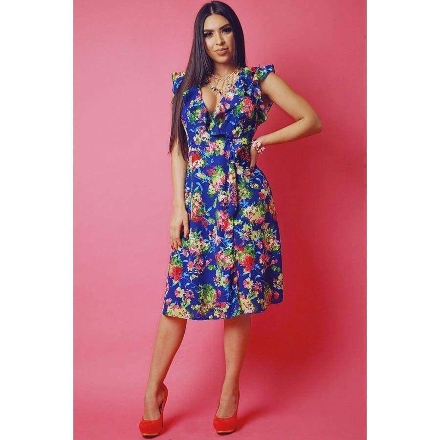 Floral Print Sleeveless Wrapped Dress With V Neckline And Ruffled Trim - S - Dress