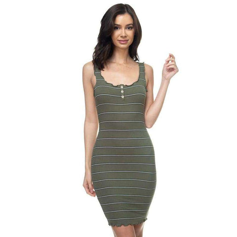 Stripe Olive Bodycon Ribbed Dress - S - Dress