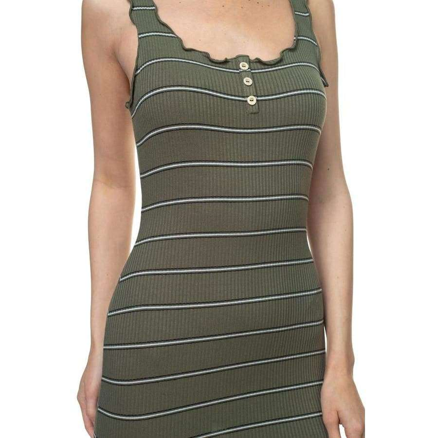 Stripe Olive Bodycon Ribbed Dress - Dress