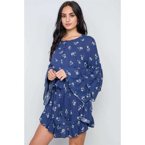 Floral Print Long Bell Sleeves Navy Dress - S - Dress