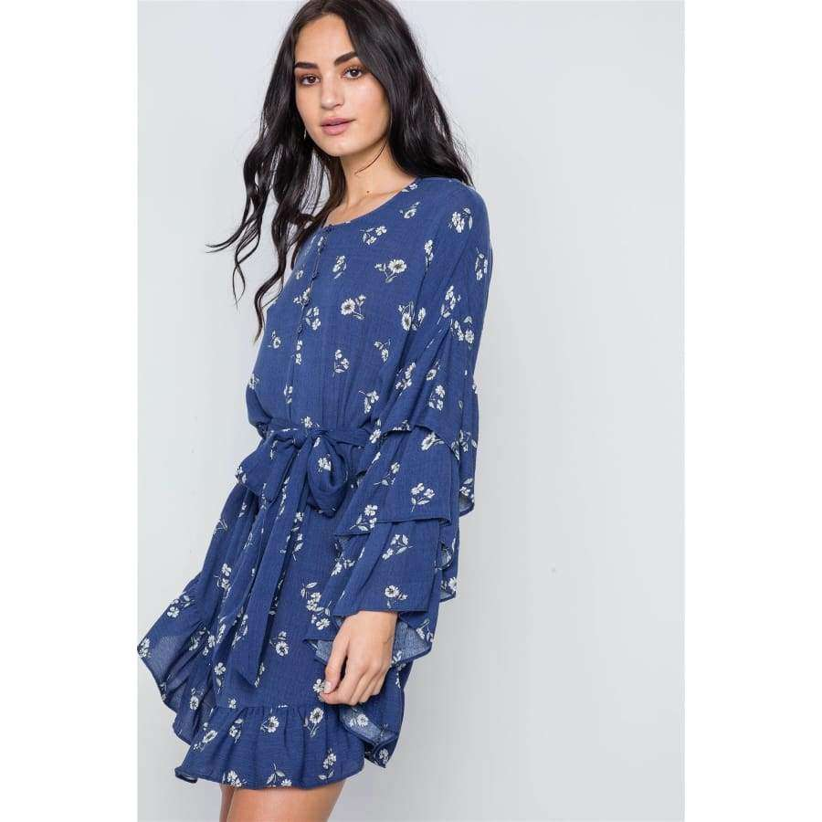 Floral Print Long Bell Sleeves Navy Dress - Dress