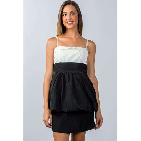 White and Black Color Block Mini Dress - M - Mini Dresses