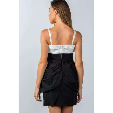 White and Black Color Block Mini Dress - Mini Dresses