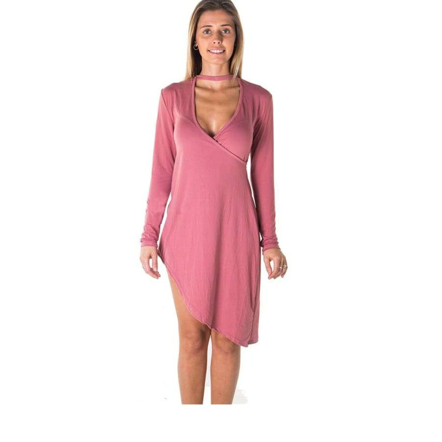 Choker Asymmetric Long Sleeve Mauve Mini Dress - S - Mini Dresses