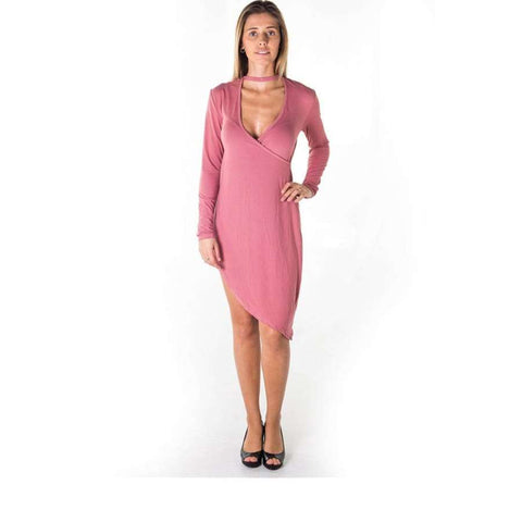 Choker Asymmetric Long Sleeve Mauve Mini Dress - Mini Dresses