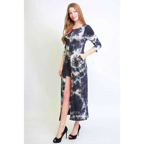 Tie Dye Black Long Body Fitted Style Tunic Top (Curvy Sizes Only) - Top