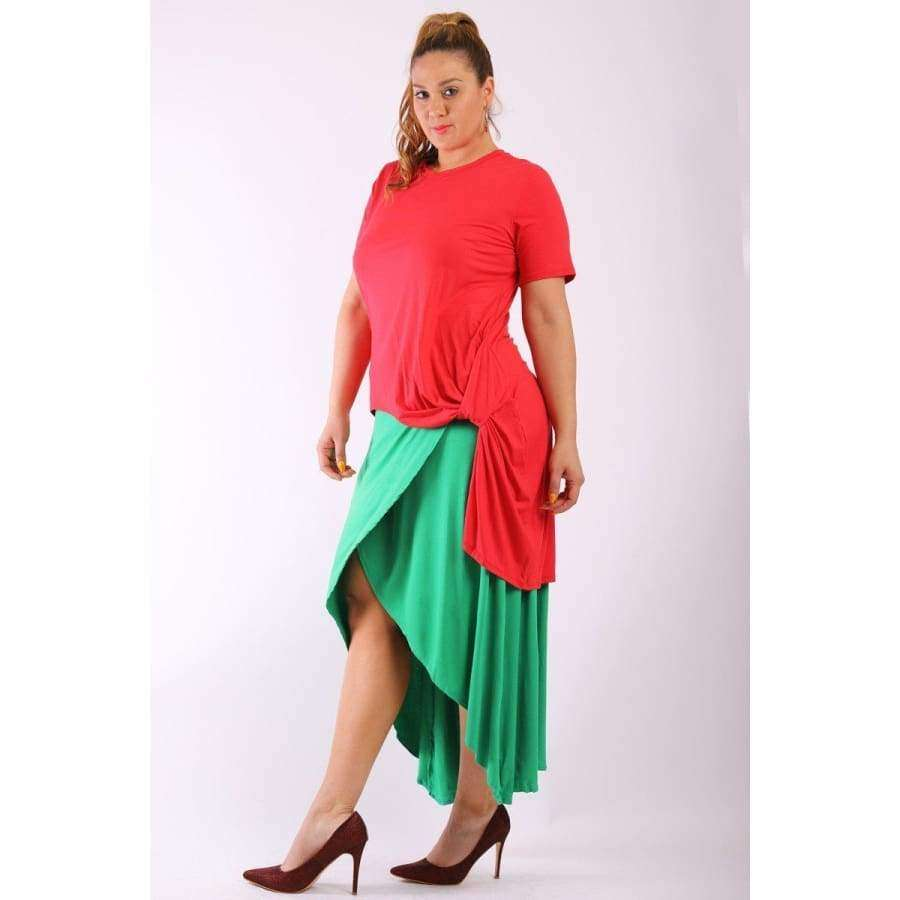 Solid Red Short Sleeve Tee Top Gathered Side Detail and Long Body Back Tail (Curvy Sizes Only) - Top