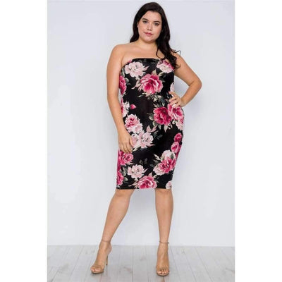 2-way Wear Floral Print Tube Midi Dress (Curvy Sizes Only) - 1XL - Plus Sizes Dresses +