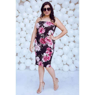 2-way Wear Floral Print Tube Midi Dress (Curvy Sizes Only) - Plus Sizes Dresses +