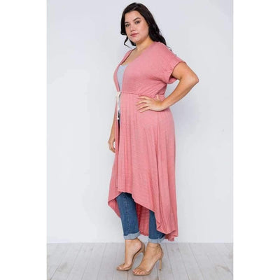 Basic High Low Coral Cardigan Cover Up (Curvy Sizes Only) - Top