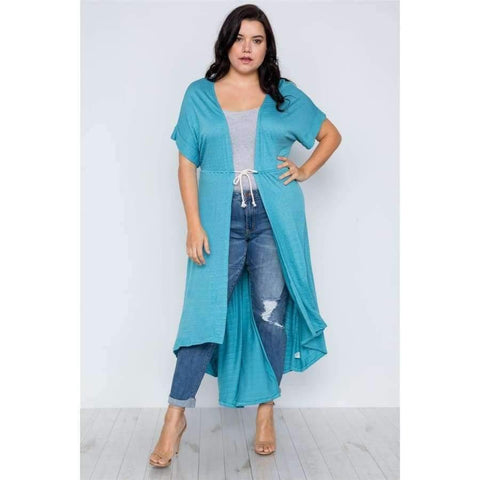 Basic High Low Aqua Cardigan Cover Up (Curvy Sizes Only) - 1XL - Top