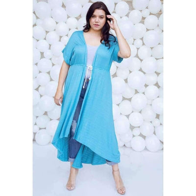 Basic High Low Aqua Cardigan Cover Up (Curvy Sizes Only) - Top